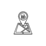 Pub map pointer line icon, mobile gps navigation Stock Photography
