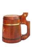 Pub mug. The wooden pub mug, fretwork, russian homecraft, isolated Royalty Free Stock Photos