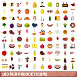 100 pub product icons set, flat style. 100 pub product icons set in flat style for any design vector illustration Royalty Free Illustration