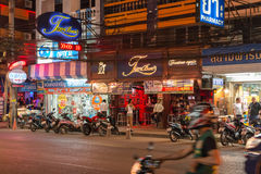 The Pub & Restaurants and Stores at South Pattaya Road Stock Photos