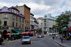 Pub and Shopping Street, Quebec City Centre, Canada Stock Images