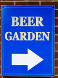 Pub Sign. Pointing to Beer Garden stock images