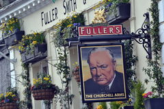 Pub sign Churchill Arms Royalty Free Stock Photography
