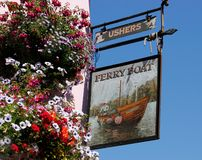 Pub sign of the Ferry Boat Inn, Dittisham, Devon stock photography