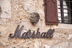 Pub Sign in Mostar in Bosnia and Herzegovina is the most important city in the Herzegovina region. Stock Images