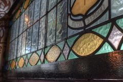 Pub stained glass. Stained glass window in a Dublin pub Stock Photo