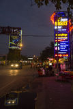 Pub street in Siem Reap at night Royalty Free Stock Photography
