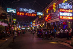 Pub street in Siem Reap at night Stock Image
