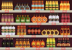 Pub or tavern, alcohol shop or store stall, stand. Alcohol stall or beverage stand at pub or restaurant, tavern. Booze shop or store showcase with champagne and Royalty Free Stock Photography