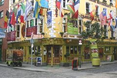 Temple Bar District with European flags, Dublin, Ireland