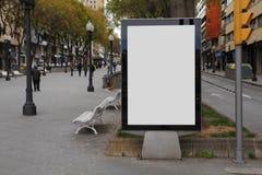 Pubblicità in bianco nella via Immagine Stock Libera da Diritti