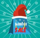 Pubblicità dell'etichetta con la vendita di inverno del testo, cappello rosso Immagini Stock Libere da Diritti