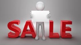 pubblicità dell'uomo d'affari 3d sulla vendita Immagine Stock Libera da Diritti