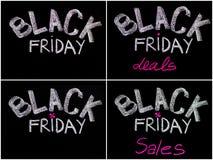 Pubblicità di Black Friday scritta a mano con gesso sulla lavagna, concetto di vendita di Black Friday Fotografia Stock