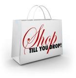 Pubblicità di sconto di vendita di Till You Drop Shopping Bag del negozio Immagini Stock