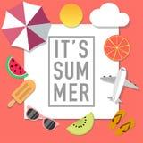 Pubblicità di stile di umore di estate con molti oggetti illustrazione vettoriale