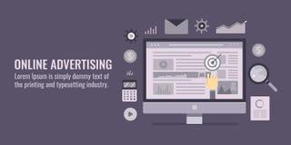 Pubblicità on line - vendita di Internet - ottimizzazione del motore di ricerca - media sociali, concetto di vendita del sito Web illustrazione vettoriale