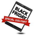 Pubblicità nera di vendita di venerdì sul dispositivo mobile Fotografia Stock