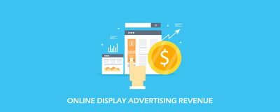 Pubblicità online dell'esposizione - concetto digitale di aumento del reddito di affari Insegna piana di vettore di progettazione illustrazione di stock