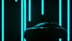 Pubblicità, presentazione di un'automobile astratta nello studio illustrazione di stock