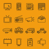 Pubblicità e linea icone di vendita messe Fotografie Stock Libere da Diritti
