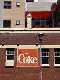 Pubblicità: segno vecchio del coke Fotografia Stock Libera da Diritti
