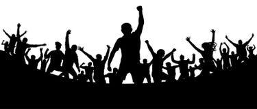 Pubblico dei fan di sport Stadio di scopo di calcio Folla allegra che applaude, siluetta della gente royalty illustrazione gratis