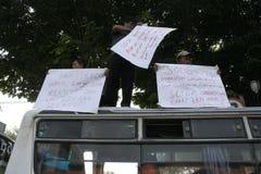 Pubblico di aumento di tariffa del veicolo dei rifiuti di azione di protesta degli automobilisti Immagine Stock Libera da Diritti