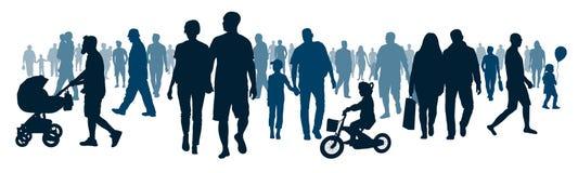 Pubblico pubblico nazionale La folla della gente di camminata della gente sta andando illustrazione vettoriale
