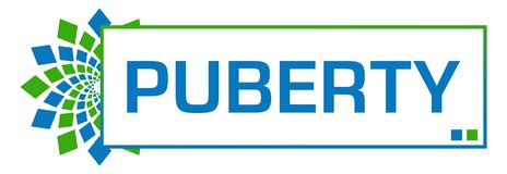 Puberty Blue Green Circular Bar. Puberty text written over blue green background Royalty Free Stock Photo