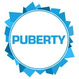 Puberty Blue Random Shapes Circle. Puberty text written over blue background Stock Photo
