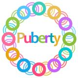 Puberty Colorful Rings Circular. Puberty text written over colorful background Royalty Free Stock Photos