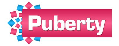 Puberty Pink Blue Circular Bar. Puberty text written over pink blue background Royalty Free Stock Photo