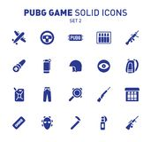 PUBG game glyph icons. Vector illustration of combat facilities. Solid design. Set 2 of icons. PUBG game glyph icons. Vector illustration of combat facilities royalty free illustration