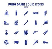 PUBG game glyph icons. Vector illustration of combat facilities. Solid design. Set 3 of icons. PUBG game glyph icons. Vector illustration of combat facilities vector illustration