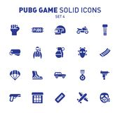 PUBG game glyph icons. Vector illustration of combat facilities. Solid design. Set 4 of icons. PUBG game glyph icons. Vector illustration of combat facilities royalty free illustration