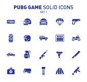 PUBG game glyph icons. Vector illustration of combat facilities. Solid design. Set 1 of icons. PUBG game glyph icons. Vector illustration of combat facilities stock illustration