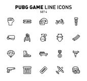PUBG game line icons. Vector illustration of combat facilities. Linear design. The Set 4 of icons for PlayerUnknown`s. PUBG game line icons. Vector illustration stock illustration
