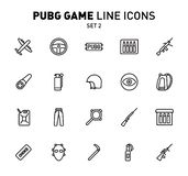 PUBG game line icons. Vector illustration of combat facilities. Linear design. The Set 2 of icons for PlayerUnknown`s. PUBG game line icons. Vector illustration vector illustration