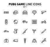 PUBG game line icons. Vector illustration of combat facilities. Linear design. The Set 1 of icons for PlayerUnknown`s. PUBG game line icons. Vector illustration stock illustration