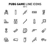 PUBG game line icons. Vector illustration of combat facilities. Linear design. The Set 3 of icons for PlayerUnknown`s. PUBG game line icons. Vector illustration stock illustration