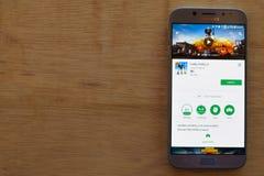 PUBG MOBILE dev application on Smartphone screen. PUBG MOBILE is a freeware web. BEKASI, WEST JAVA, INDONESIA. JUNE 3, 2019 : PUBG MOBILE dev application on royalty free stock image