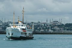 Ferry on bosporus River, Istanbul, Turkey stock photography