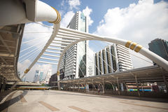 Pubic skywalk with modern buildings of Bangkok Royalty Free Stock Photography
