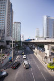 Pubic skywalk with modern buildings of Bangkok Stock Images