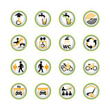 Public access button icons. Set of button signs for public buildings Royalty Free Stock Photo