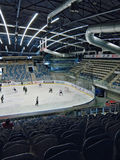 PUBLIC ACCESS EVENT! Chomutov, Ustecky kraj, Czech republic - January 07, 2017: interior of new multipurpose city arena. During game of hockey junior team Royalty Free Stock Photography
