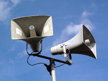 Public Address System. Of two megaphones Royalty Free Stock Images