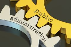 Public administration concept on the gearwheels, 3D rendering Stock Photos