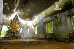 Public ancient Thai Buddha statue left in the forest for hundred years in Wat Somdej temple Stock Image